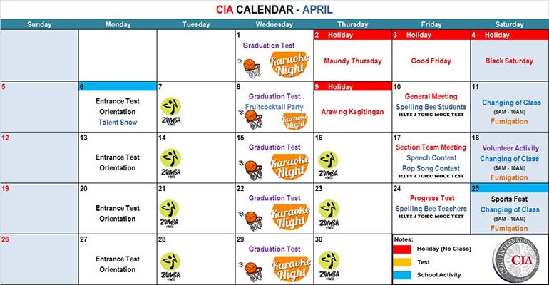 Lịch học tháng 4