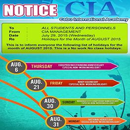 Lịch nghỉ Lễ tháng 8 năm 2015