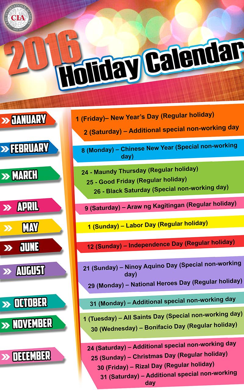 Lịch nghỉ các ngày lễ năm 2016