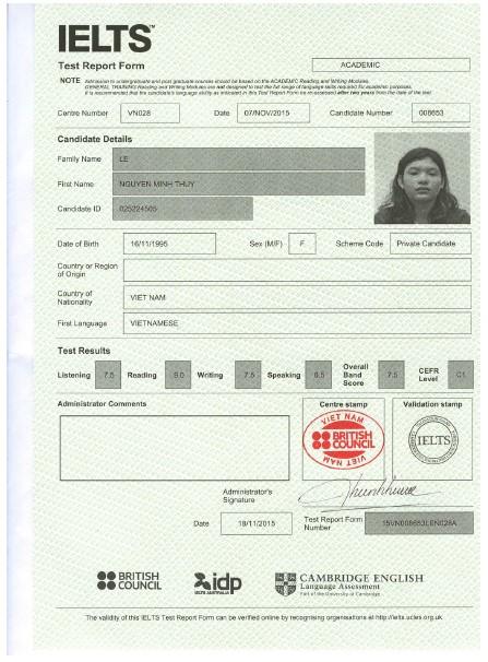 Học viên Lê Nguyễn Minh Thùy – Kết quả điểm thi IELTS