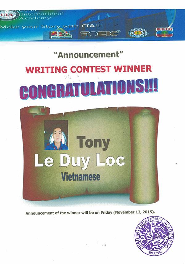 Học viên Việt Nam đạt giải nhất tại cuộc thi viết tiếng Anh theo chủ đề